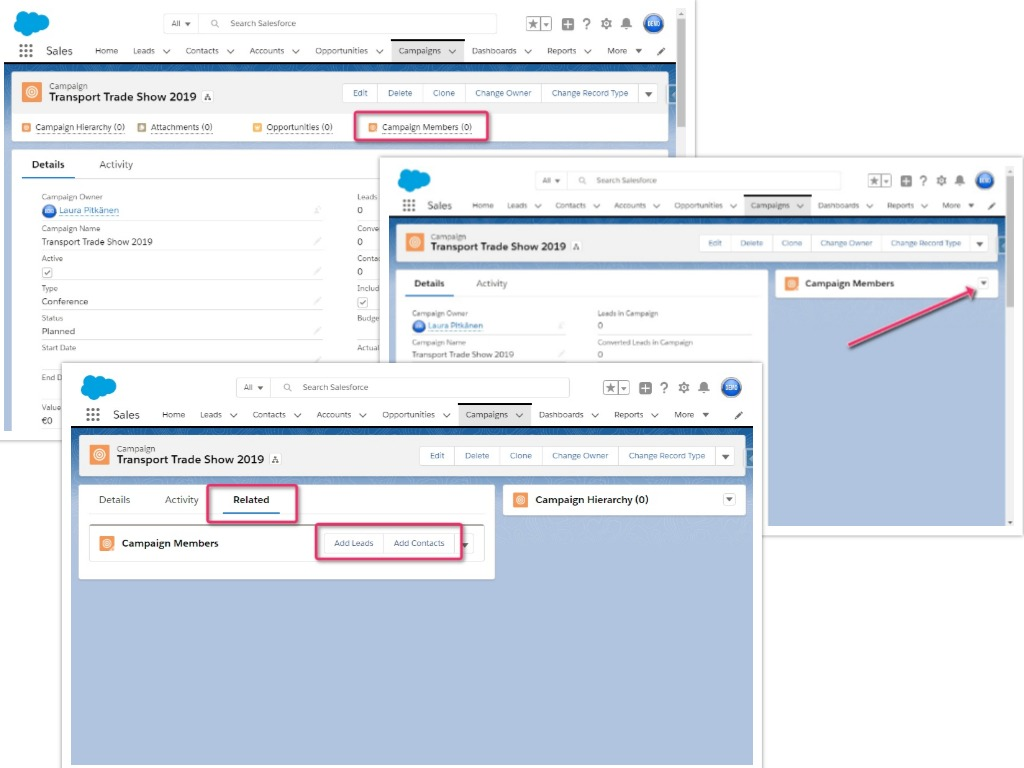 Different methods of managing Campaign Members in the Salesforce interface.