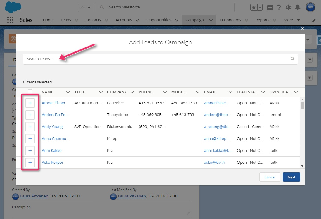 Adding Leads to Salesforce Campaigns