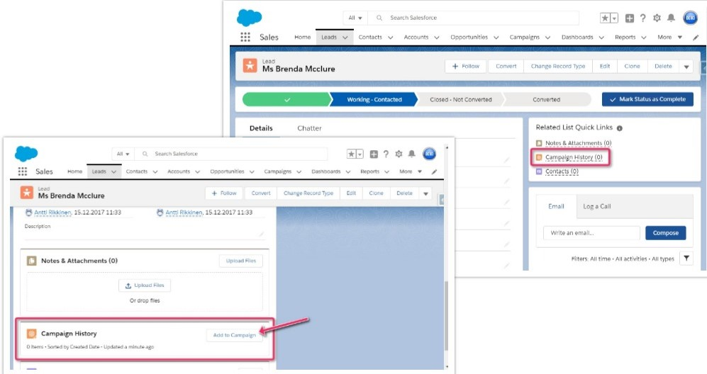 Showing the Campaign History locations in the Salesforce interface